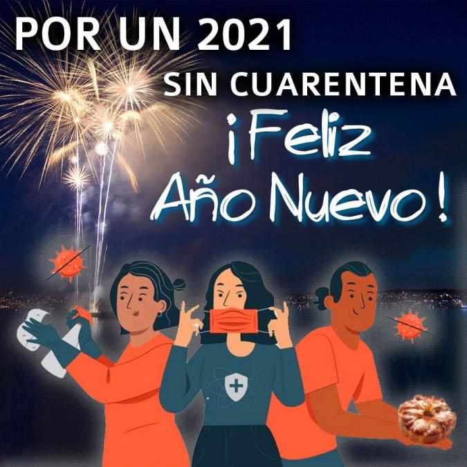 Imágenes feliz año nuevo 2021 por un 2021 sin cuarentena coronavirus covid-19 Tarjetas para compartir por whatsapp Felices Fiestas