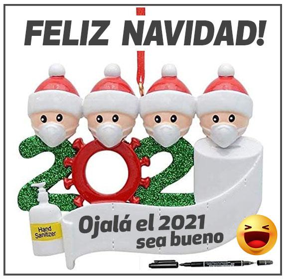 2021 Feliz navidad en cuarentena coronavirus covid-19 barbijos cubrebocas mascarillas papel higiénico alcohol en gel